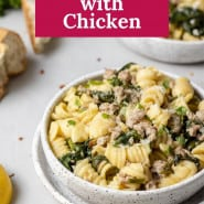 """Pasta with spinach, text overlay reads """"instant pot lemon pasta with chicken."""""""
