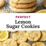 """Lemon cookies with text overlay that reads """"perfect lemon sugar cookies."""""""