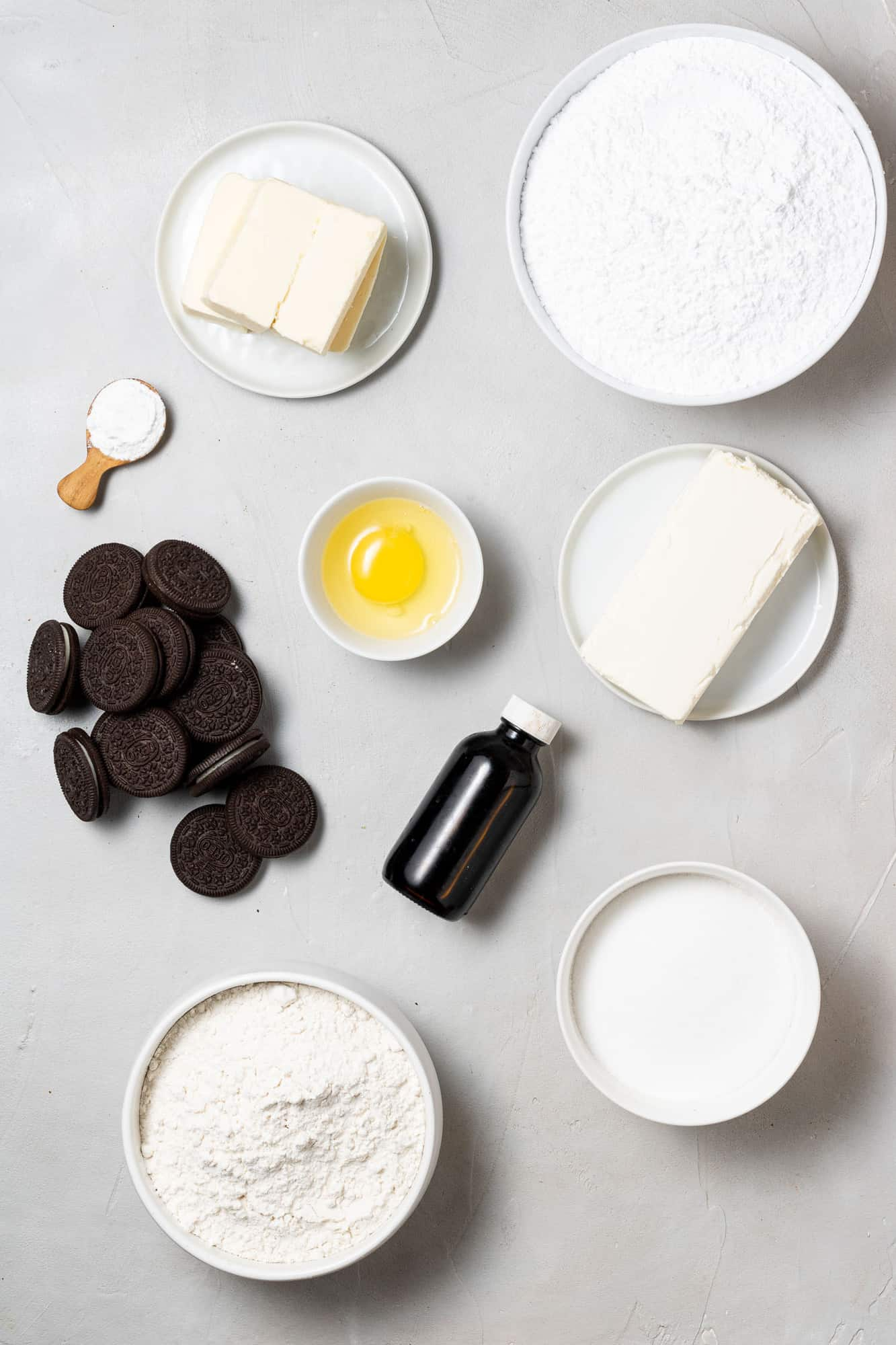 Ingredients needed for cookie bars and frosting.