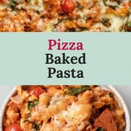 """Pasta with cheese and pizza sauce, text overlay reads """"pizza baked pasta."""""""