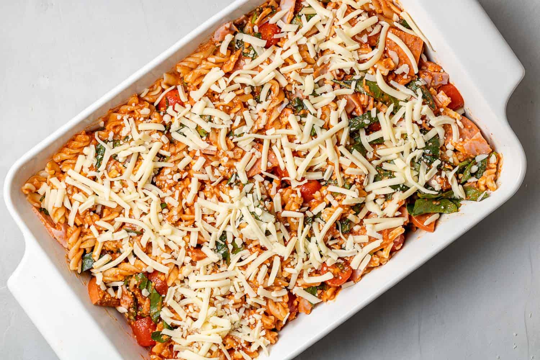 Unbaked pizza pasta casserole.