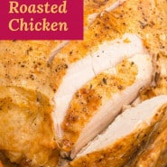 """Chicken in white dish, text overlay reads """"perfect roasted chicken."""""""