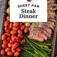 "Steak and vegetables, text overlay reads ""sheet pan steak dinner."""