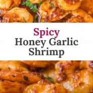 """Shrimp, with a text overlay that reads """"spicy honey garlic shrimp."""""""