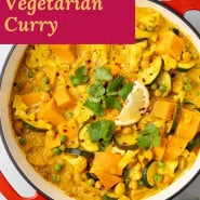 """Curry, text overlay reads """"easy vegetarian curry."""""""