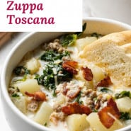 """Soup with kale, sausage, and potatoes, text overlay reads """"homemade zuppa toscana."""""""
