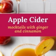 """Brown drink in martini glass, text overlay reads """"apple cider mocktails with ginger and cinnamon."""""""