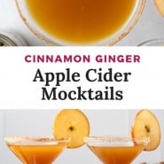 """Brown drink in martini glass, text overlay reads """"cinnamon ginger apple cider mocktail."""""""