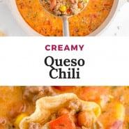 "Chili, text overlay reads ""creamy queso chili."""