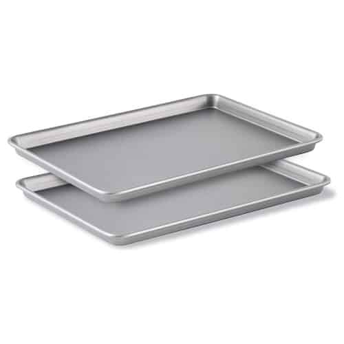 Two sheet pans on white background.