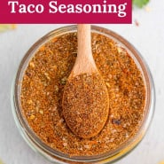 """Spice mix in a jar, text overlay reads """"the best homemade taco seasoning."""""""