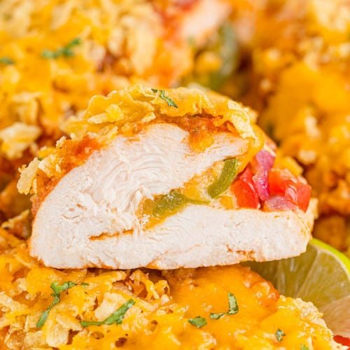 Chicken breast stuffed with fajita vegetables and cheese.