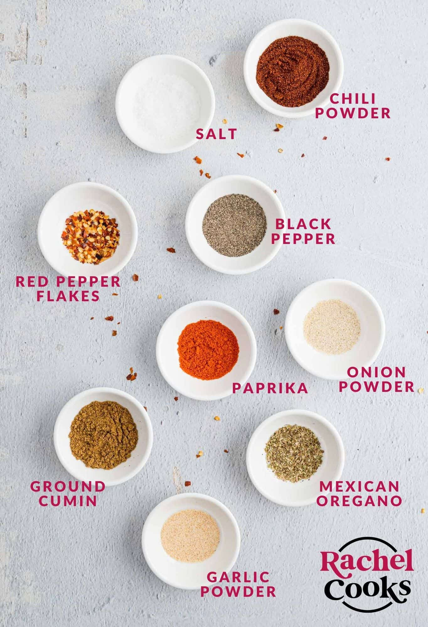 Ingredients needed for taco seasoning, with labels.