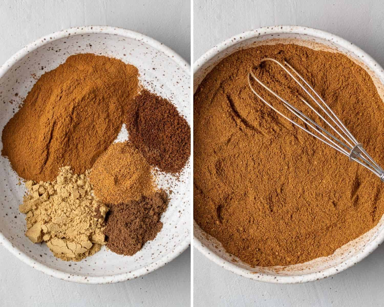 Pumpkin pie spice before and after being mixed.