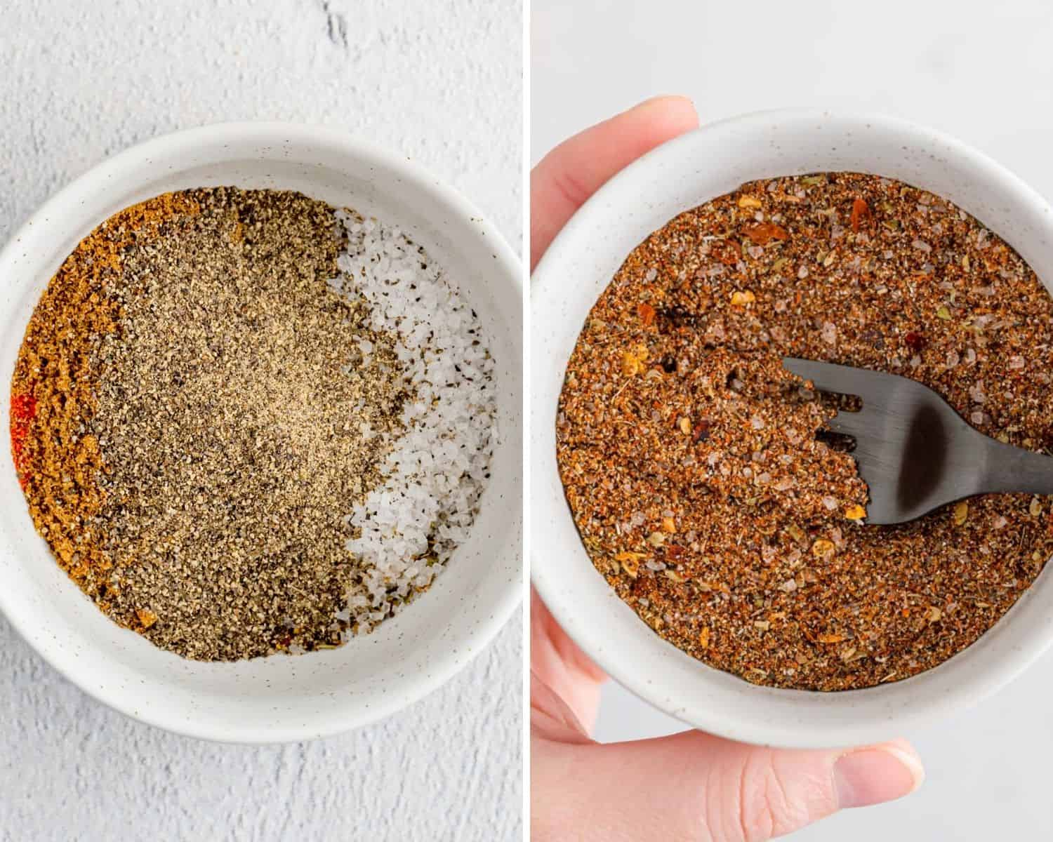 Spice mix before and after being mixed.
