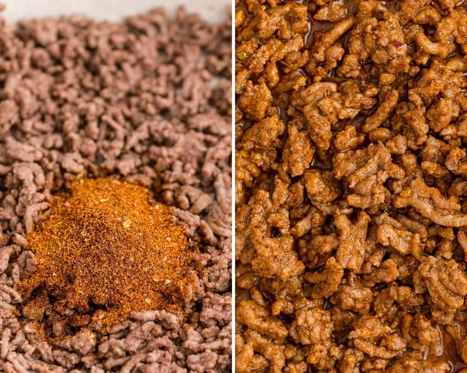 Taco seasoning before and after being mixed in with ground beef.